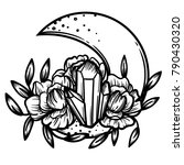 moon crystal with peony flowers....   Shutterstock .eps vector #790430320