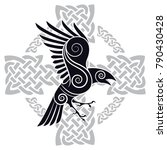 the raven of odin in a celtic... | Shutterstock .eps vector #790430428