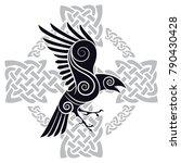 the raven of odin in a celtic...   Shutterstock .eps vector #790430428