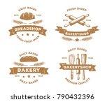 vintage bakery pastry logo... | Shutterstock .eps vector #790432396