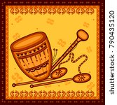 vector design of dhol and... | Shutterstock .eps vector #790435120