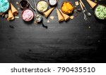 different fruit ice cream in... | Shutterstock . vector #790435510