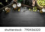 beer background. fresh beer and ... | Shutterstock . vector #790436320