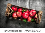 box with ripe red apples. on a... | Shutterstock . vector #790436710