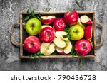 red and green apples in a... | Shutterstock . vector #790436728