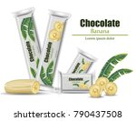 chocolate banana packaging... | Shutterstock .eps vector #790437508