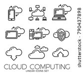 set of linear cloud computing... | Shutterstock .eps vector #790437898