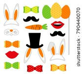 cute easter photo booth props... | Shutterstock .eps vector #790440070