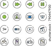 line vector icon set   play... | Shutterstock .eps vector #790447930