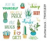 vector cacti and hand written... | Shutterstock .eps vector #790451839
