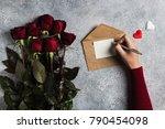valentines day woman hand...   Shutterstock . vector #790454098