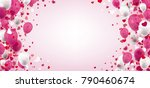 pink and white balloons with... | Shutterstock .eps vector #790460674