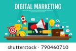 digital marketing and digital... | Shutterstock .eps vector #790460710