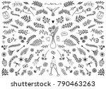 hand sketched floral design... | Shutterstock .eps vector #790463263