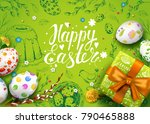 vector card with realistic 3d... | Shutterstock .eps vector #790465888