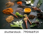 spices and herbs. variety of... | Shutterstock . vector #790466914