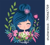 cute girl portrait with flowers.... | Shutterstock .eps vector #790467709