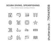 scuba diving  snorkeling line...   Shutterstock .eps vector #790469008