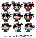 vector set of ninja character... | Shutterstock .eps vector #790470223