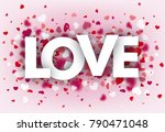 hearts on the pink background... | Shutterstock .eps vector #790471048
