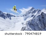 skier jump in the mountains.... | Shutterstock . vector #790474819
