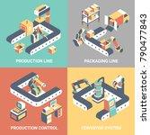 conveyor flat isometric poster... | Shutterstock . vector #790477843
