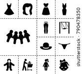 girl icons. set of 13 editable... | Shutterstock .eps vector #790478350