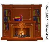 vintage books lie on the mantel ... | Shutterstock .eps vector #790480954