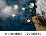 white towel  sea bath salt ... | Shutterstock . vector #790480960
