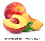peach fruit with leaf isolated... | Shutterstock . vector #790481524