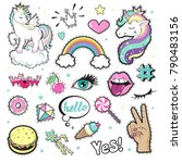 fashion patch badges with... | Shutterstock .eps vector #790483156