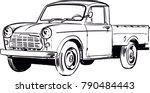 Vintage Pickup Truck Vector...