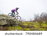 enduro cyclist riding the... | Shutterstock . vector #790484689