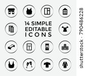 set of 14 front filled icons...