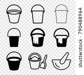 set of 9 pail filled and... | Shutterstock .eps vector #790488964