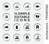 set of 14 swimming filled icons ... | Shutterstock .eps vector #790489060