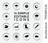 set of 14 weather filled icons... | Shutterstock .eps vector #790489126