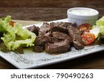 fillet steak with fries and beer | Shutterstock . vector #790490263