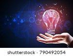 hand holding polygonal lamp on... | Shutterstock . vector #790492054