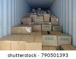 stack of boxes in the logistics ... | Shutterstock . vector #790501393