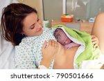 happy mom  having her baby skin ... | Shutterstock . vector #790501666