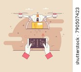 dron delivers the parcel.the... | Shutterstock .eps vector #790507423