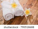 frangipani on white rolled... | Shutterstock . vector #790518688