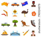 australia traveling icons set... | Shutterstock .eps vector #790524373