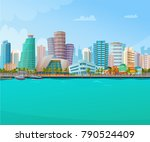 miami skyline retro poster with ... | Shutterstock .eps vector #790524409
