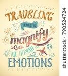 travel. vector hand drawn... | Shutterstock .eps vector #790524724