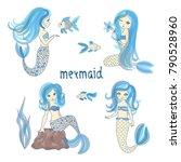 set of cute mermaids. vector... | Shutterstock .eps vector #790528960