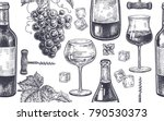 seamless vector pattern of wine ... | Shutterstock .eps vector #790530373