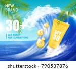realistic sunscreen cosmetics...   Shutterstock .eps vector #790537876