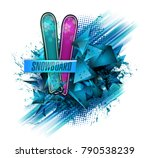 color vector snowboarder.... | Shutterstock .eps vector #790538239